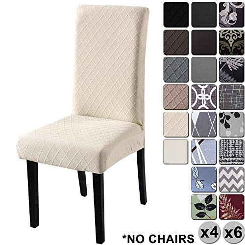YISUN Dining Chair Covers, Stretch Removable Washable Dining Chair Protector Parsons Chair Slipcover for Hotel, Dining Room, Ceremony, Banquet Wedding Party (6 Pack, Beige)