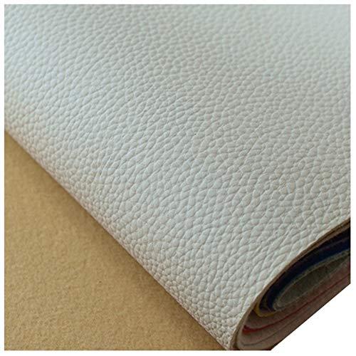 Tela de Polipiel para Tapizar Tela de Imitación de Cuero Parche Cuero para Sofá Asiento de Coche Muebles Chaquetas Bolso Polipiel para Tapizar, Ancho 138cm (Size:1.38x1m,Color:Blanco)