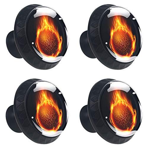 4 pomos de cristal para gabinete, 30 mm, tirador de cristal, tiradores de cajón de cristal para cocina, baño, baloncesto y fuego ardiente