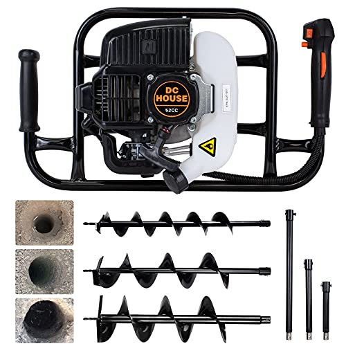 Gas Auger Post Hole Digger 52CC 2 Stroke Earth Digger Gas Power Earth Auger with 3 Drill bits (4\