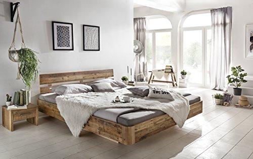 Woodkings® Holzbett Bett 180x200 Hampden Doppelbett Schlafzimmer Massivholz Design Holz Schwebebett Massive Naturmöbel Echtholzmöbel günstig (Rec. Pinie)