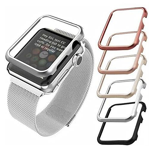 LLMXFC Case cover For Apple Watch band 42mm 38mm 40mm 44mm for iwatch series se 6 5 4 3 2 1 metal frame protective Case (Band Color : BLACK, Band Width : 42mm)