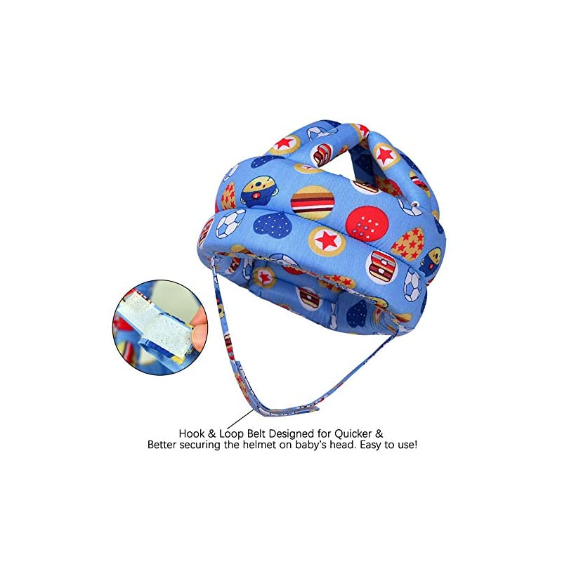 crib bedding and baby bedding baby safety helmet, infant baby head protector with 3 pairs baby knee pads for crawling & 3 pairs baby socks, head cushion bumper bonnet, soft headguard for toddler learning to walk, blue ball