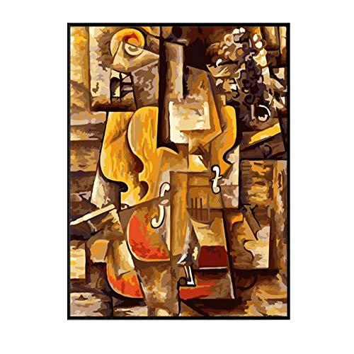 DOAQTE Weltberühmte Malerei Leinwand Violine und Trauben von Pablo Picasso Wanddekoration Bild Malerei auf Leinwand Home Art Decor 50X70cm Kein Rahmen 1 Stck