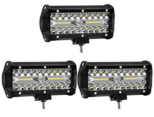 ALPHA DIMA 3X 120W 72W 36W 180W LED Phare de Travail 12V 24V Lampes de Travail Etanche IP67 Spot Flood Feux Antibrouillard LED Feux de Travail pour Voiture Camion Tracteur SUV Bateau(120W)