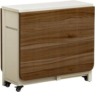 Liuxing-Home Table de salle à manger pliante avec cadre en bois, table multifonction extensible avec 2 étagères de rangeme...