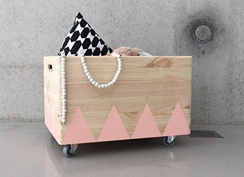 Holz Spielzeugkiste Rosa - Rollen Triangel skandinavisch