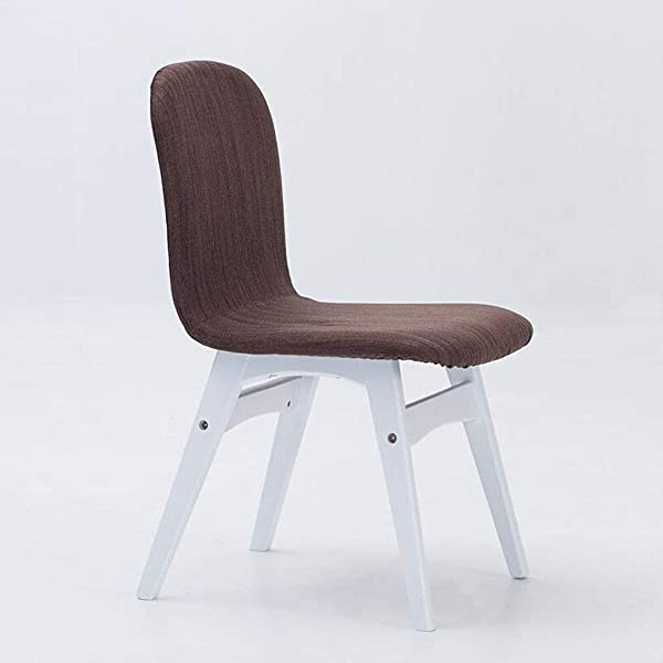Carl Artbay Wooden Footstool Brown Yellow Linen Cushion Dining Chair Solid Wood Home Backrest Chair Casual Desk And Chair Coffee Chair Home Color White Stent