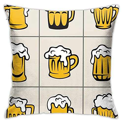lymknumb Draft Beers Soft Square Pillow Case Cushion Cover Home Sofa Decorative 18' X 18'Inch Ultra Comfortable