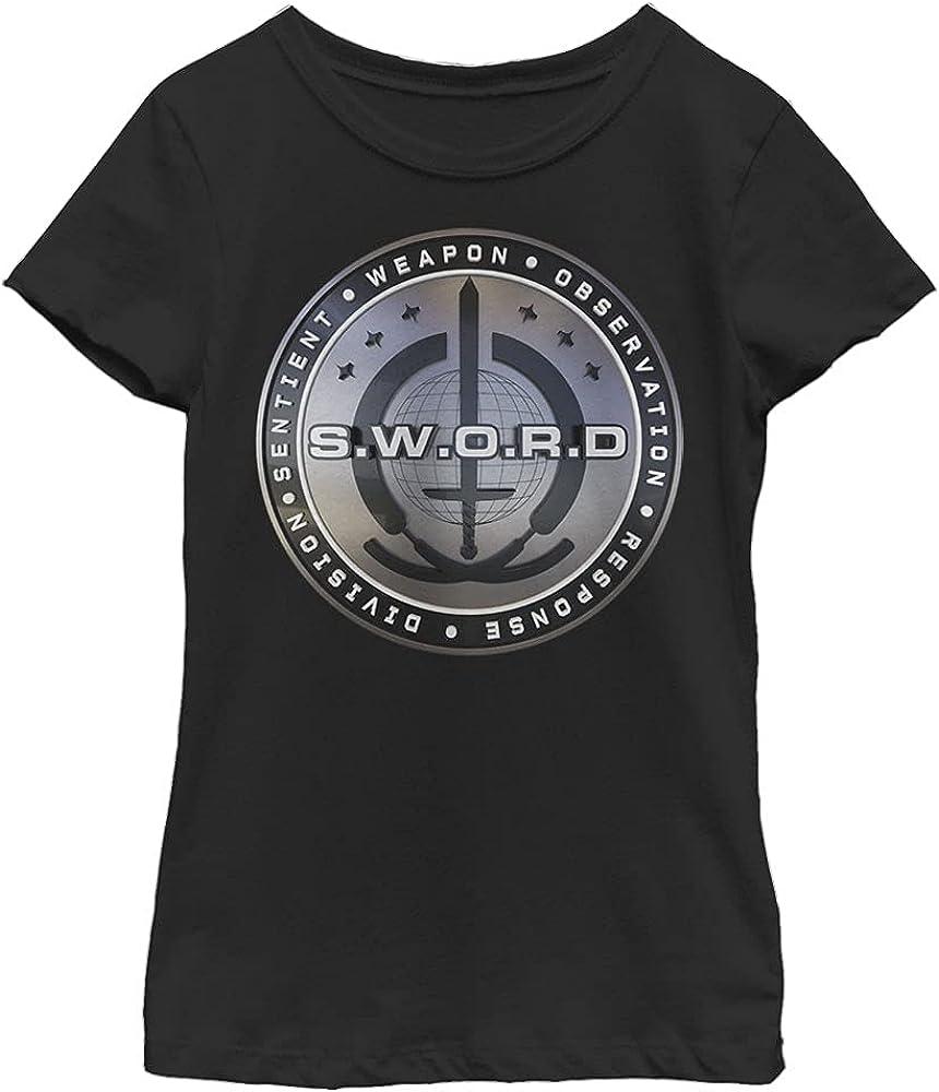 Marvel Film Wandavision 3D Sword Logo Girl's Solid Crew Tee