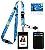 Vincent Van Gogh the Starry Night Print Lanyard con portafoglio porta badge in pelle PU co...