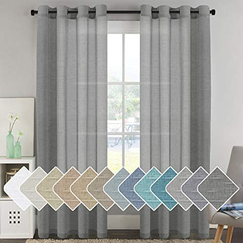 """Natural Linen Blended Window Curtain Panels - Light Filtering Linen Sheer Curtains Grey Nickel Grommet for Bedroom / Living Room ( Set of 2, 52"""" W x 96"""" L - Charcoal Grey)"""