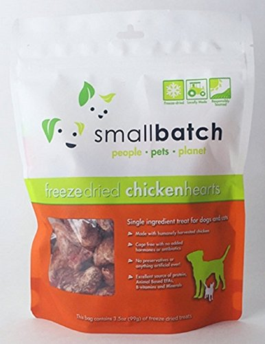 Small Batch Freeze Dried Natural Heart Treats, 3.5...