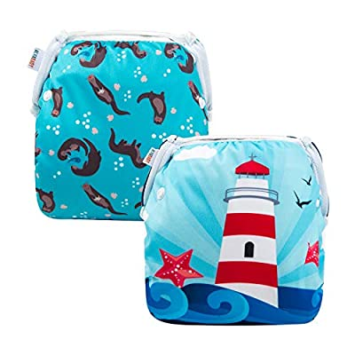 ALVABABY 2pcs Swim Diapers Reuseable Adjustable for Baby Gifts & Swimming Lessons (YK52-D48)