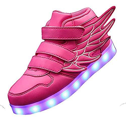 Kids'LED Mode Schuhe Light up Turnschuh-Trainer mit Flügeln 7 Farben Blinklicht für Jungen-Mädchen-Geschenk-Hoch-Spitze Turnschuhe USB-Gebühr,Rosa,27
