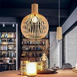 Suspension Lustre E27 Hauteur Adjustable Vintage Plafonnier Bambou Suspendue Main Moderne Osier Rotin Vague Ombre…