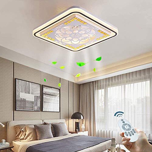 OUJIE Ventilatore A Soffitto con Illuminazione, Lampada Fan LED con Telecomando, Soffitto Moderna Lampada Dimmerabile, Timing Sala da Pranzo Camera Fan Lampada,Square