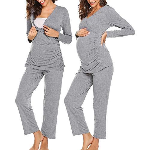 Ropa Premamá Lactancia Pijama Conjunto Maternidad Pijama Premamá Embarazo Cuello En V De Lactancia Manga Larga Top El Pantalones S-XXL,Gris,XL