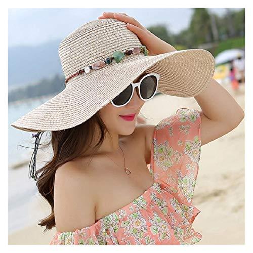 LiuQ Sombrero de Playa Sombrero de Mujer de Verano Ancho alarte Sombreros de Paja Grande Sol Sombreros UV protección Floppy Playa Sombreros Arco Sombrero Sombrero Proteccion Solar