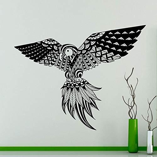 Patrón de pluma de pájaro etiqueta de la pared loro pájaro exótico pegatina de vinilo interior del hogar arte de la pared decoración idea hogar creativo decoración DIY A8 53x42cm