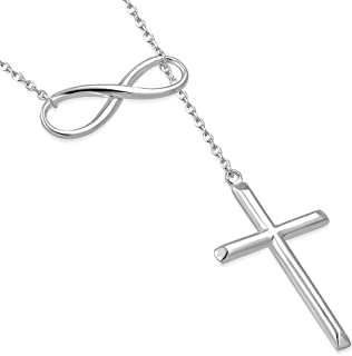 925 Sterling Silver Infinity Cross Necklace For Women - Modern Cross And Infinity Necklace - Infinity Love Cross Pendant In 3 Color Styles - Religious Jewelry with Adjustable Chain - Top Gifting Idea