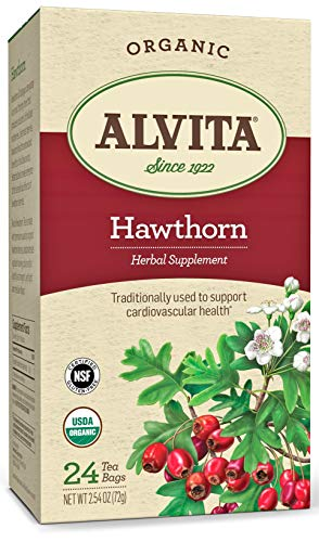 Alvita Organic Hawthorn Herbal Tea - Made with Premium Quality Organic Hawthorn Berries, with Golden Honey Color and Astringent Light Mellow Flavor, 24 Tea Bags