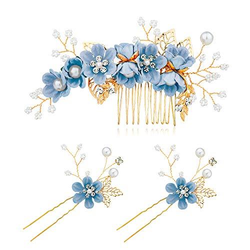 Czemo 3 Stück Haarkamm Künstliche Perlen Kristall Blume Haarkamm Braut Haarschmuck Haarnadeln Hochzeit Haarkamm Schmuck für Damen (Blau)