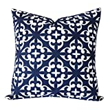 SLOW COW Cotton Embroidery Decorative Throw Pillow Cover Navy Blue Cushion Cover for Living Room 18x18 Inches