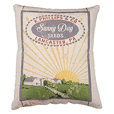 Primitives by Kathy Vintage Feed Sack Style Sunny Day Seeds Throw Pillow, 14 x 17-Inch