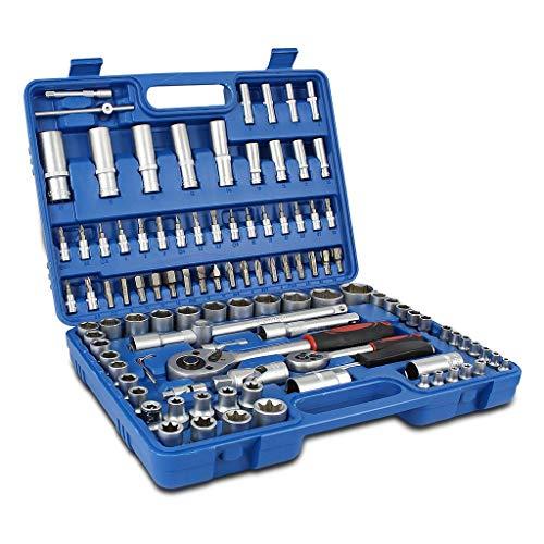 Todeco 108 Pzs Juego de Vasos con Llaves Carraca 1/2 y 1/4 Pulgada, Juego de Llaves de Vaso para reparación de automóviles o trabajos mecánicos, Azul