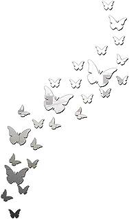 24 pcs Butterflies Acrylic Wall Sticker, 51inch Acrylic 3D Silver Crystal Mirror Big Size Modern Acrylic DIY Art Wall Deca...