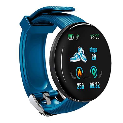 KawKaw DX Smartwatch für Damen Herren und Kinder mit Schlaftracker Kalorienzähler Schrittzähler Pulsuhr Health Watch Activity Tracker mit Touchfunktion Fitness Armband Uhr für iOS & Android (Blau)
