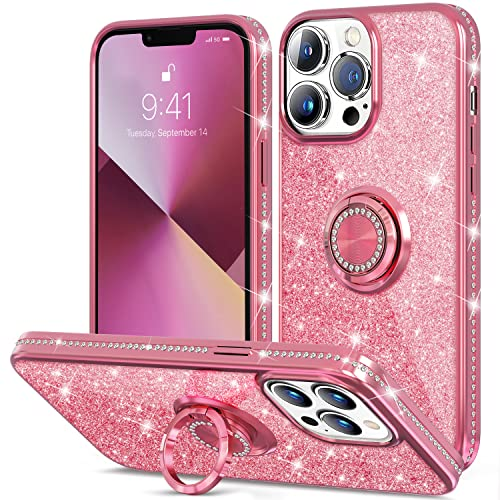 Thomo Compatible with iPhone 13 Pro Max Case,[Bling Kickstand] Cute Glitter Slim Bumper Diamond Cover Ring Holder Full-Body Protective Phone Case for iPhone 13 Pro Max Women Girls -Pink/Rose Gold