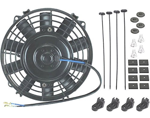 "American Volt 12V Electric Radiator Cooling Fan Reversible High Performance Thermo Cooler Best CFM (7"" Inch, Single Fan)"