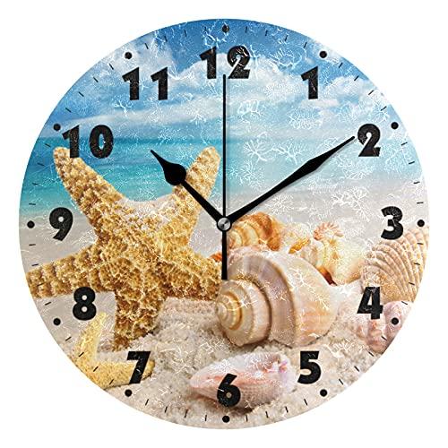 hufeng Reloj de Pared Conchas Marinas Reloj de Pared Redondo Silencioso Funciona con Pilas Sala de Estar Reloj de Pared Silencioso Escritorio sin tictac Relojes de Pared con Estrellas de mar Arte