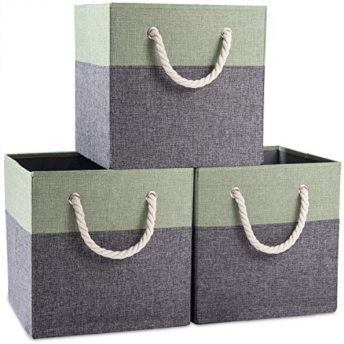 Prandom Large Foldable Cube Storage Bins 13x13 inch [3-Pack] Fabric Linen Storage Baskets Cubes Drawer with Cotton Handles Organizer for Shelves Toy Nursery Closet Bedroom Green