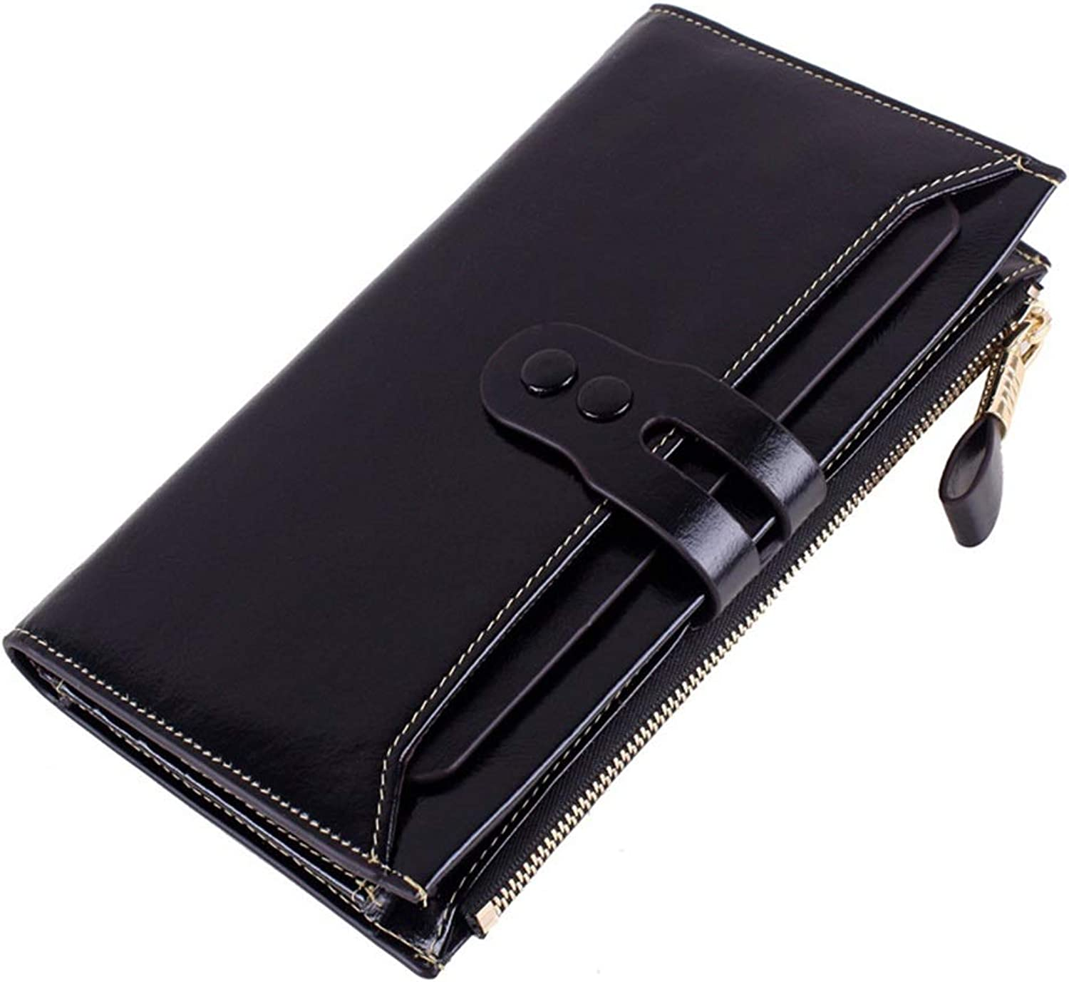 Sturdy Wallet Leather First Layer Leather Long Wallet Women's Clutch Large Capacity (color   Black)