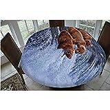 Mantel ajustable de poliéster con bordes elásticos, para pesca en cascadas, cascada de Alaska Nature Camp, apto para mesas ovaladas/Olbong de 48 x 172,7 cm, para comedor, cocina, fiesta, color marrón