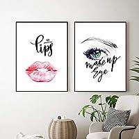 ファッション美容壁アートキャンバス絵画プリント唇アートキャンバスポスター化粧品店の壁の写真現代の家の装飾| 40x60cmx2Pcs /フレームなし