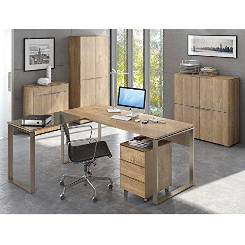 Komplettes Arbeitszimmer - Büromöbel Komplett Set Modell YOLO 2 in Riviera Eiche 6-teilig - auch alle Modelle einzeln erhältlich