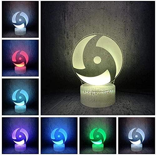 A-Generic 3D ilusión lámpara llevada Noche luz Naruto Personaje Sharingan Anime Blanco grieta Base Bombilla USB Cable Juguete Mejor cumpleaños niños