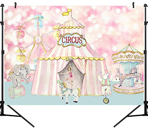 Sensfun 7x5ft Pastel Pink Circus Birthday Backdrop Carnival Carousel Big Top Tent Girls Baby Shower 1st Birthday Party Banner Decorations Dessert Candy Cake Table Background Photobooth Props