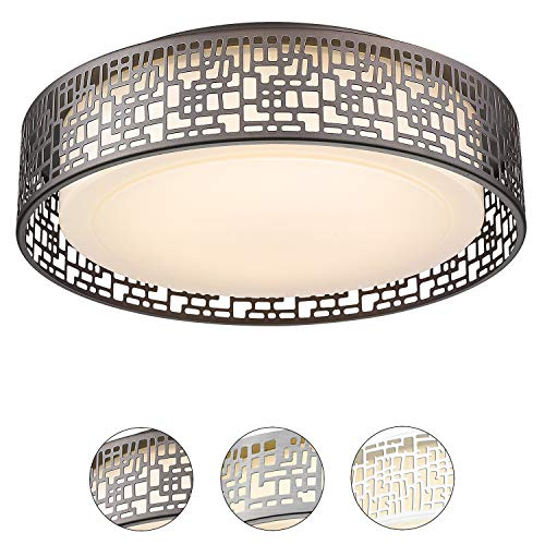 Flush Mount Lighting Fixtures, VICNIE 14inch 20W 1400 lumens LED Round Ceiling Lights, 3000K Warm White, Oil Rubbed Bronze Finished (Metal Body and Acrylic Shade)