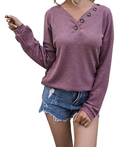 WonderBabe Camisas de Punto de Gofre de Manga Larga con Cuello en V para Mujer Blusas Sueltas Holgadas Informales Pulóver con Botones Lisos Blusas Moradas Talla S