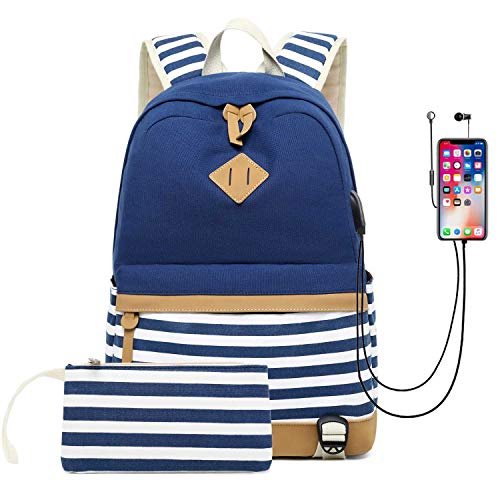 Neuleben Rucksack 2 Set Schulrucksack & Geldbeutel mit Streifenmuster USB Port für Jungen Mädchen Teenager Schulranzen Schultasche 2020 Update (Blau)