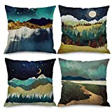 Pack of 4 Throw Pillow Covers 18x18 Watercolor Painting Mountain Forest Moon Farm Navy Yellow Green Spring Fall Home Decor Invisible Zipper Durable Decorative Cushion Cover Pillow Case Sofa Couch Bed