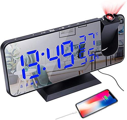 CAMPSLE Despertador con proyección de 180°, radio despertador...