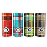 Traveling Tissues Round Cylinder Box Facial Tissues Tubes - 4 Pack, 50 Count Disposable 2 Ply Tissues - Perfect Fit for Car Cup Holder, Travel Bag (Plaid Variety)