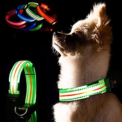 LKJYBG Collar de perro LED, recargable por USB y reflectante, con luz impermeable, collar de perro intermitente hace que tu perro sea visible, medianos y grandes, verde M