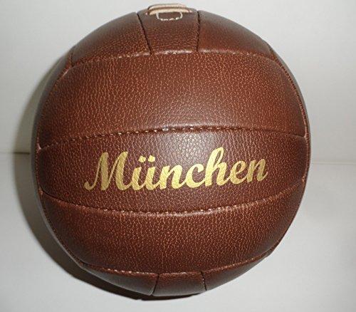 Bavaria Home Style Collection Fussball/Ball/braun/Gr. 5 / Nostalgieball/Nostalgie Ball/Retroball im Leder Look mit Ziernieten und goldenem Print Schriftzug München
